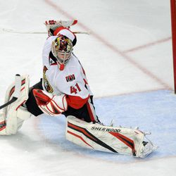 Ottawa Senators goaltender Craig Anderson makes a save against the New York Rangers during the second period of Game 5 of an NHL Stanley Cup first-round hockey playoff series, Saturday, April 21, 2012, at New York's Madison Square Garden.