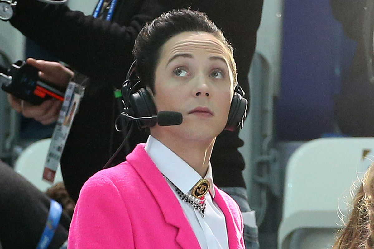 Figure skating champion Johnny Weir comments for NBC the Figure Skating Pairs Short Program on day 4 of the Sochi 2014 Winter Olympics at Iceberg Skating Palace on February 11, 2014 in Sochi, Russia.