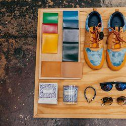 Alice Park wallets, $125; AXS x Clae Mills sneakers, $160; Illesteva sunglasses, $177; Hope sunglasses, $286; Cuisse De Grenouille candle, $80