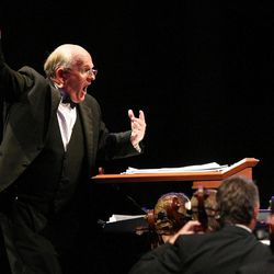 Mack Wilberg conducts the Orchestra at Temple Square during Golden Days, A Celebration of Life, in honor of President Thomas S. Monson's 85th birthday at the LDS Conference Center in Salt Lake City on Friday, Aug.  17, 2012.