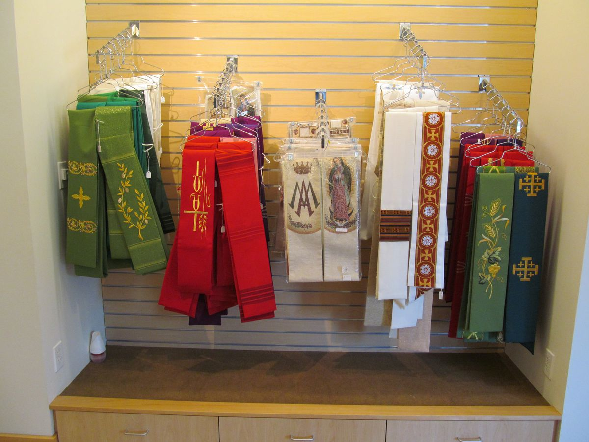 Stoles for the clergy designed by the the Sister Disciples of the Divine Master in Los Angeles.
