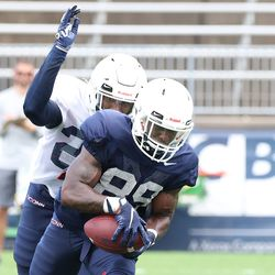 UConn's Deon Mclean Jr. #20 tries to slap the ball from Jahkai Gill #89 during the Huskies open practice at Pratt & Whitney Stadium at Rentschler Field in East Hartford, CT on Saturday, August 14, 2021.