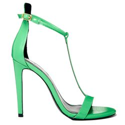 """<b>River Island</b> Barely There Sandals in Parrot Green, <a href=""""http://us.asos.com/River-Island-Parrot-Green-T-Bar-Barely-There-High-Heeled-Sandals/12flg2/?iid=3653518&SearchQuery=green&Rf-700=1000&Rf-800=-1,71&sh=0&pge=0&pgesize=36&sort=-1&clr=Green&m"""