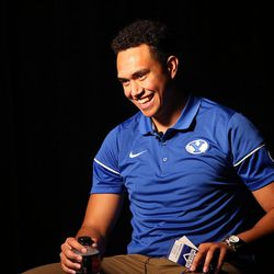 Tight end Moroni Laulu-Pututau answers questions during BYU Football Media Day at BYU Broadcasting in Provo on Friday, June 23, 2017.