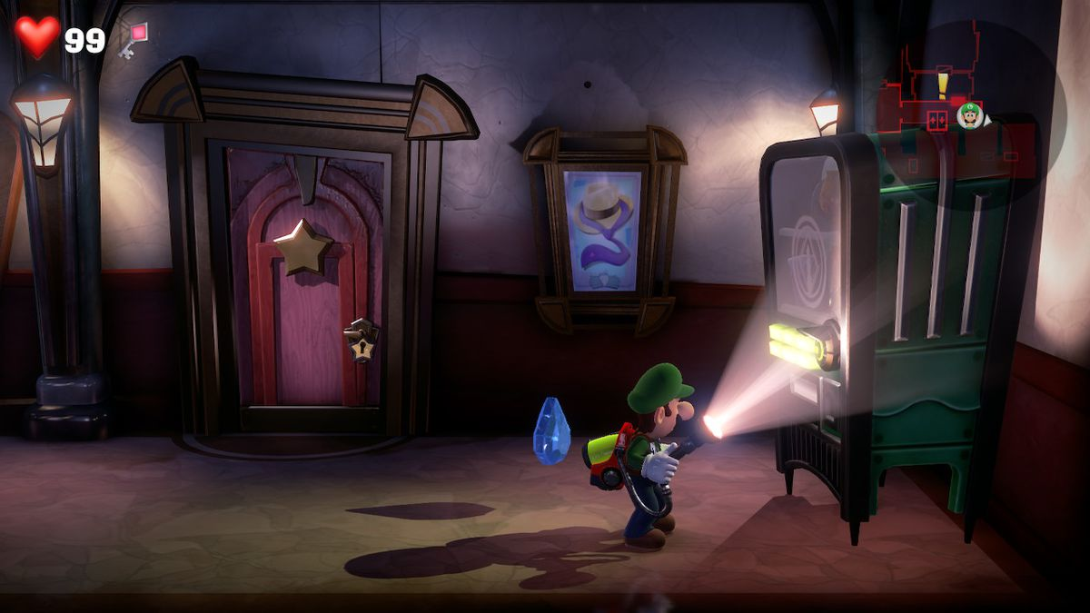 Luigi's Mansion 3 3F Hallway and the vending machine that holds a blue gem