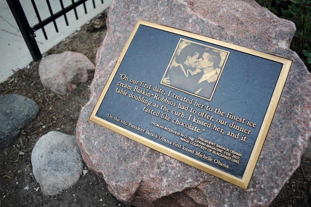 A monument marking the location of the first kiss between President Barack Obama and first lady Michelle Obama, located on the corner of 53rd Street and Dorchester Avenue. The kiss took place in 1989 when the president treated the first lady to ice cream