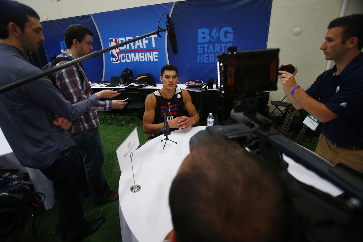Steve Adams under the lights at the combine