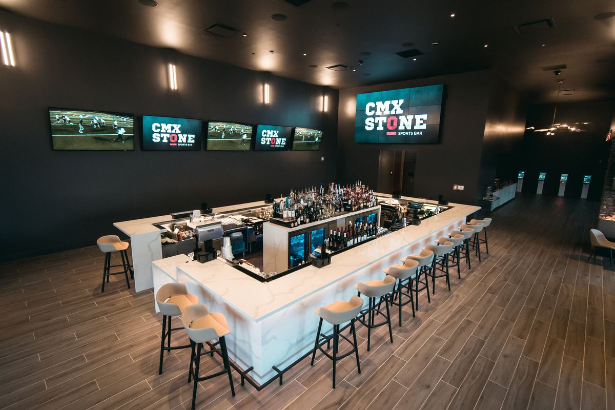 The sports bar at CMX CinéBistro at Halcyon in Forsyth County