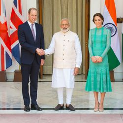 For lunch with India's Prime Minister Narendra Modi, Kate chose a $1,395 Temperley London lace dress in a stunning shade of jade. She paired it with L.K.Bennett's Fern Court Shoe, which she also wore on the first day of her India trip.