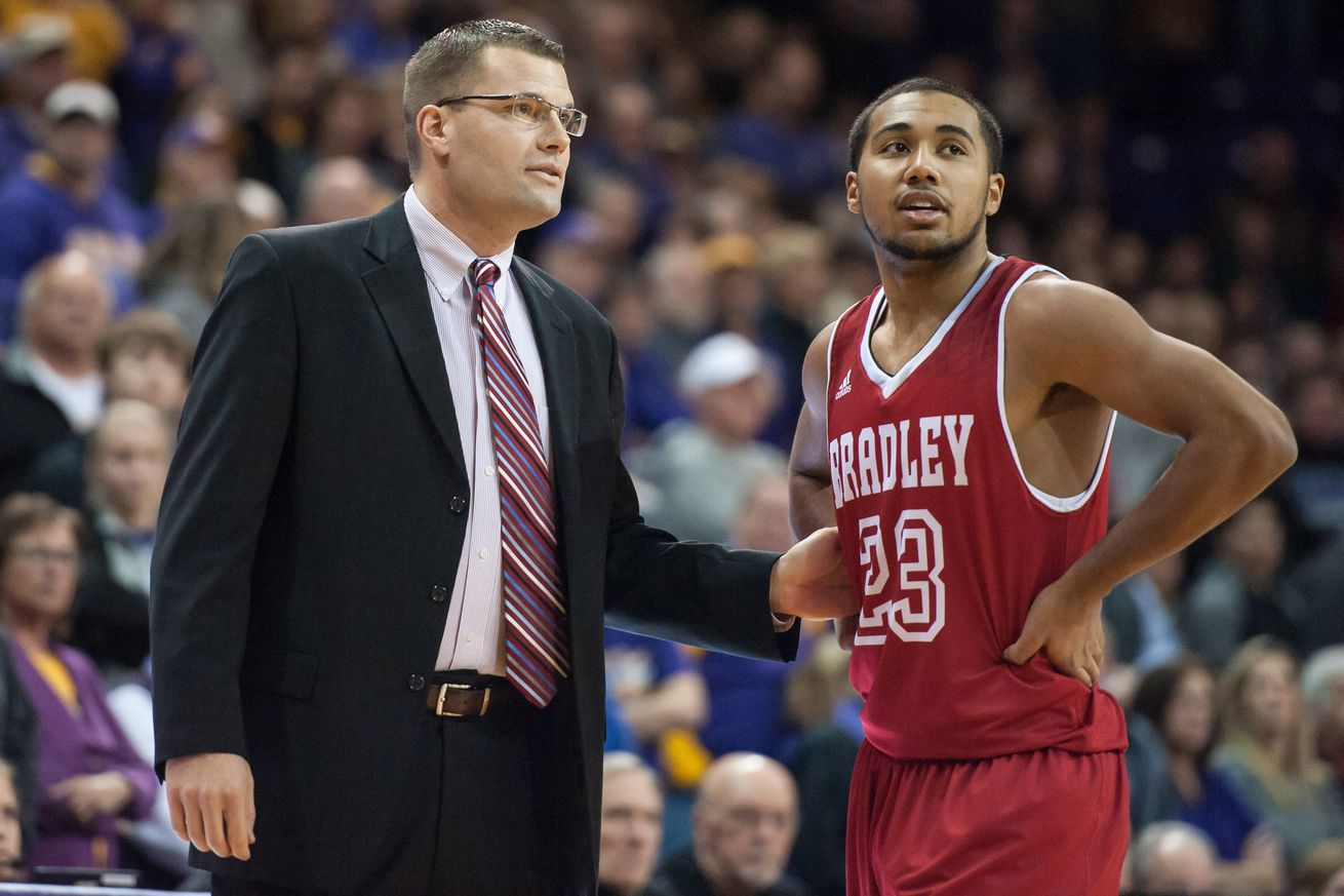 Brian Wardle and Dwayne Lautier-Ogunleye hope to lead Bradley to March Madness success.