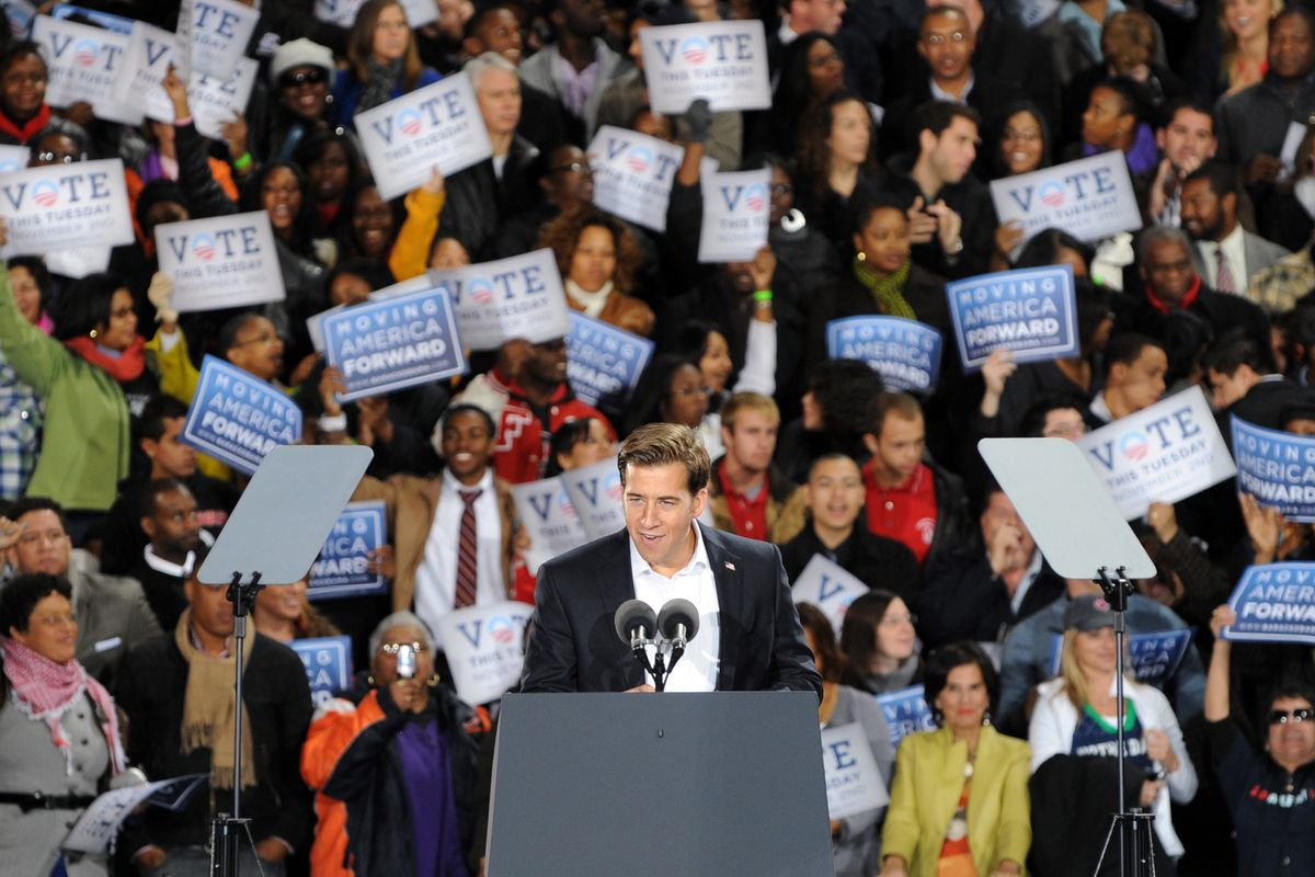 Democrat Alexi Giannoulias speaks during a U.S. Senate campaign rally at the Midway Plaisance in Hyde Park in 2010.