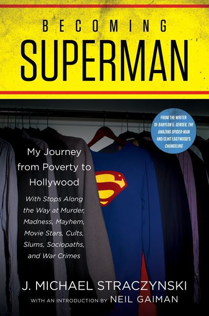Cover for Becoming Superman, superman's costume hanging in a closet.
