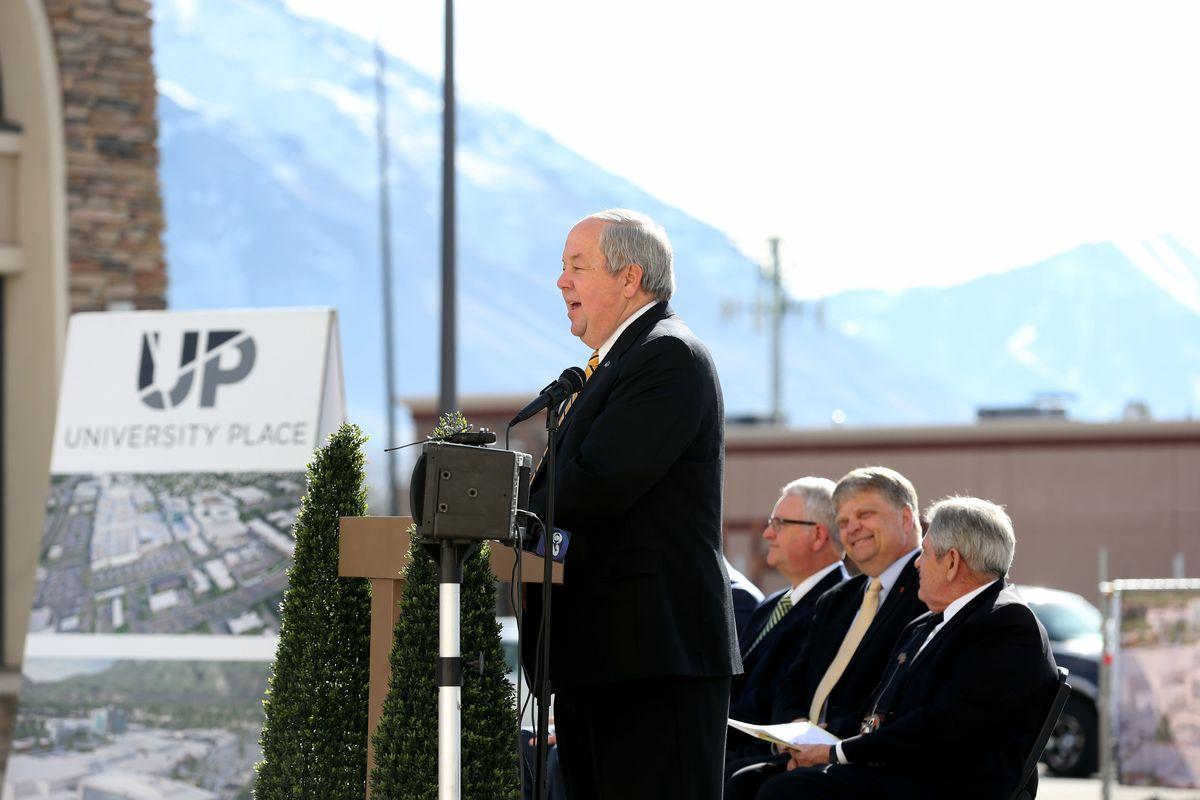 FILE - Orem Mayor Richard Brunst speaks at a ground breaking ceremony at University Place in Orem on Thursday, Feb. 5, 2015.