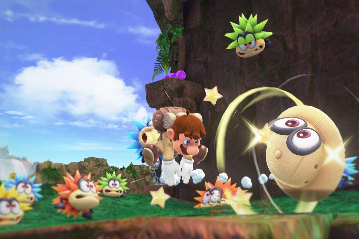 Super Mario Odyssey - safari Mario tossing Cappy