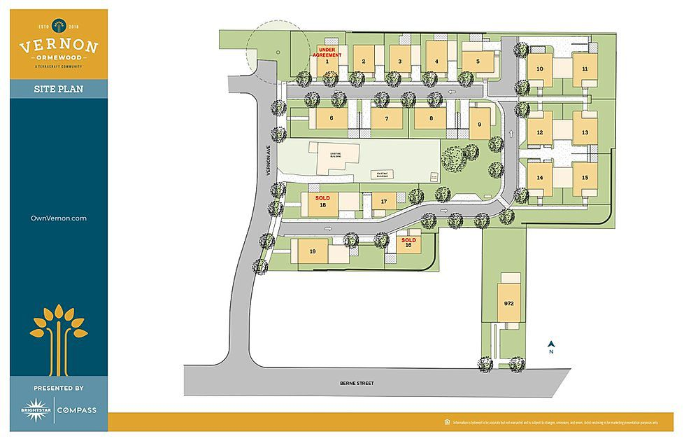 An overview of a site plan for a community of houses.