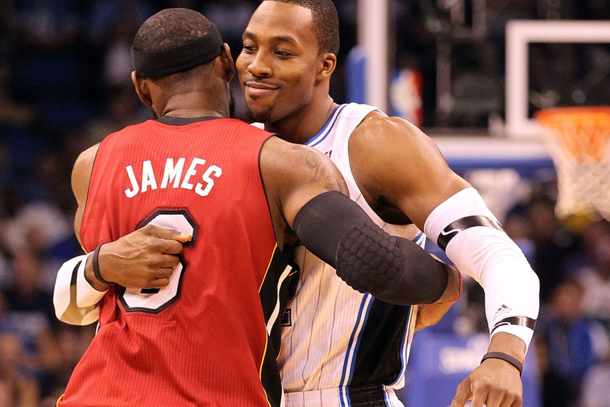 Miami Heat F Lebron James #6 and Orlando Magic C Dwight Howard #12 celebrate being named to this week's edition of the NBA 2012 MVP Power Rankings.