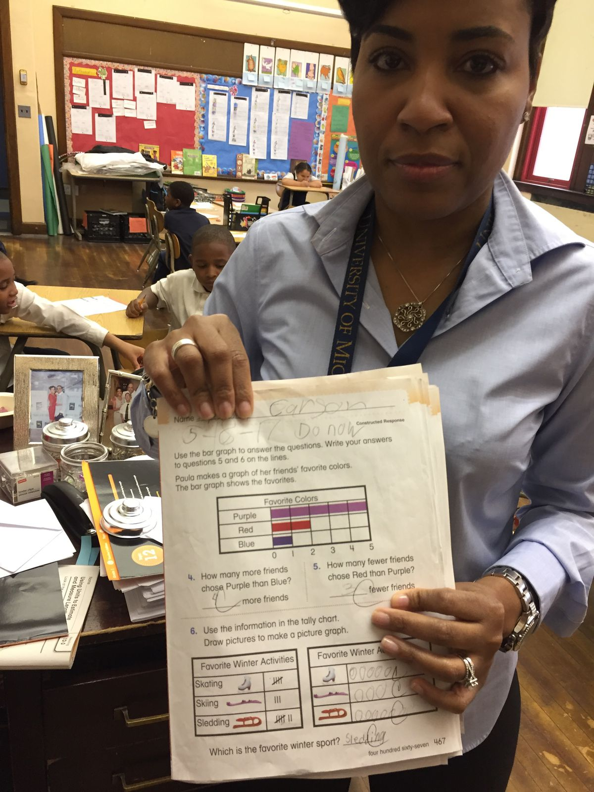 Rynell Sturkey, a first-grade teacher at the Paul Robeson Malcolm X Academy on Detroit's west side, said she didn't get the workbooks she's required to use to teach math until March this year.