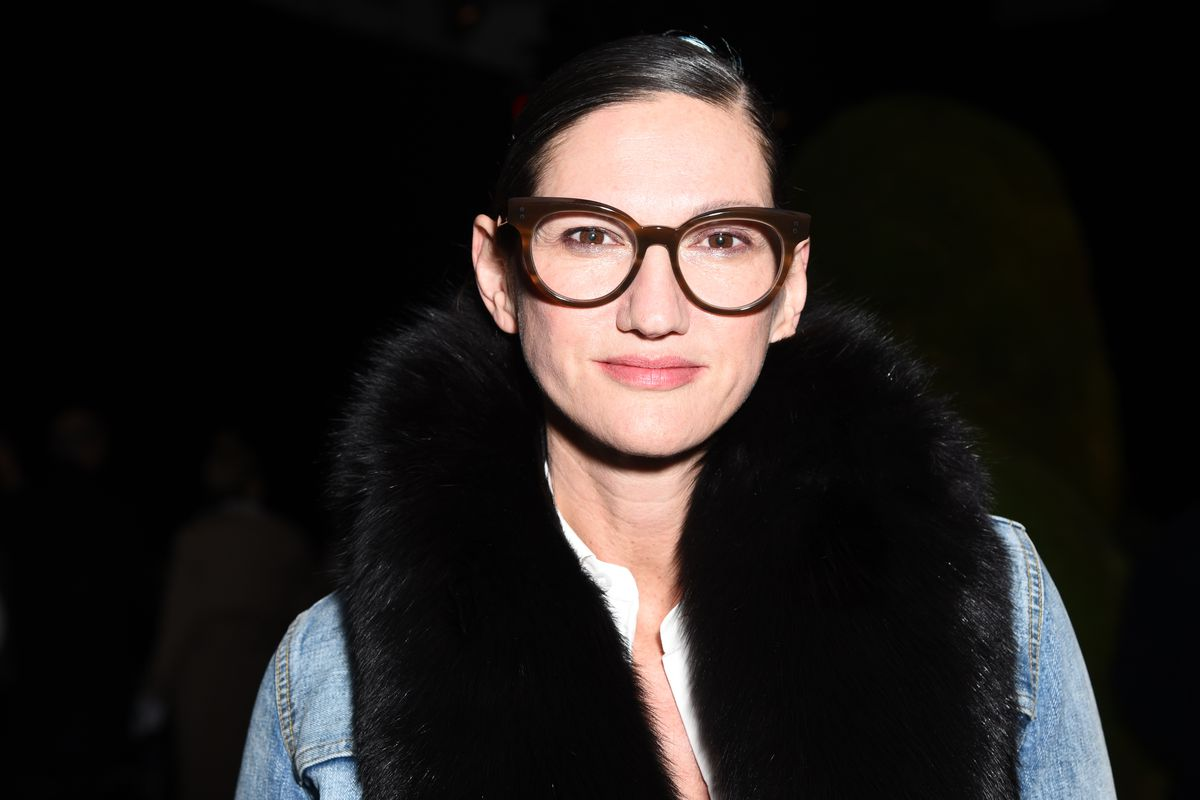 Jenna Lyons wears her signature glasses and a denim jacket.