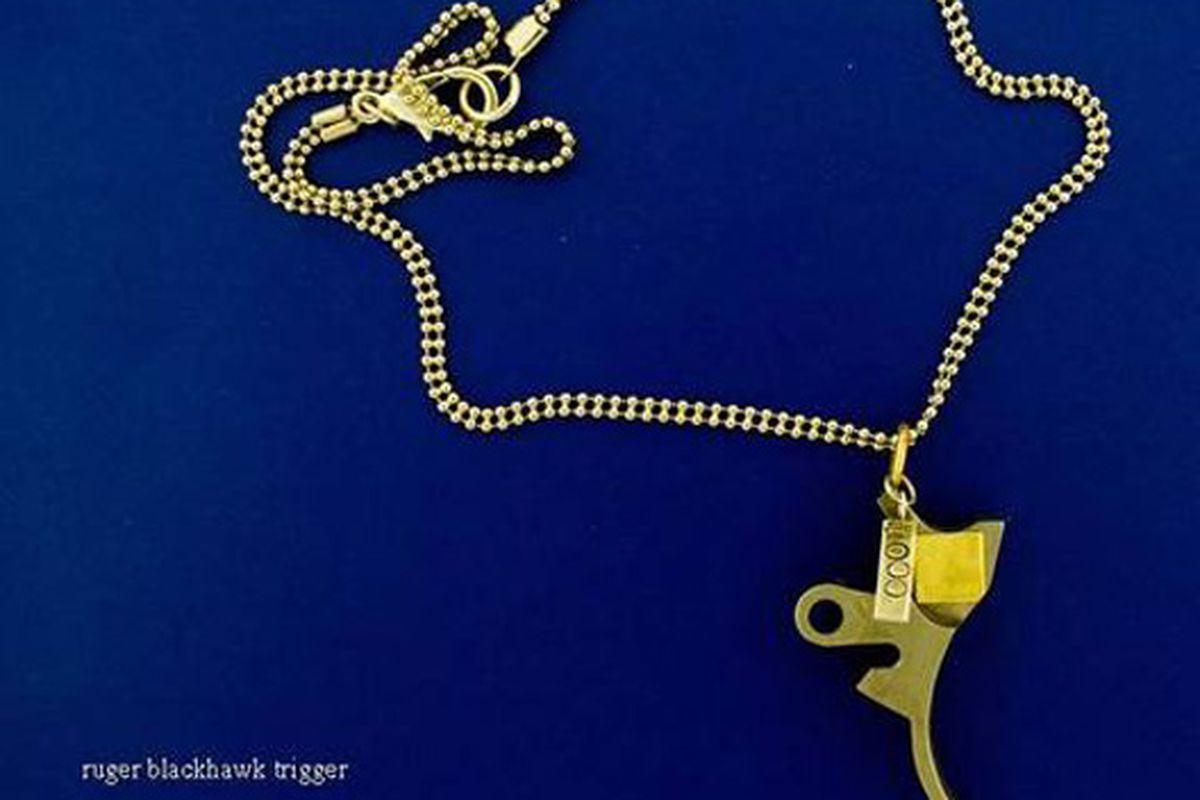 "Trigger necklace via <a href=""http://shop.kenanddanadesign.com/products/gun-buy-back-fundraiser-tickets"">b-side</a>"