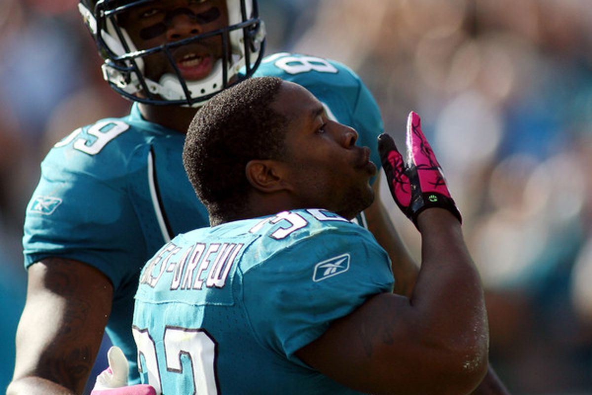 JACKSONVILLE FL - OCTOBER 03:  Running back Maurice Jones-Drew #32 of the Jacksonville Jaguars celebrates a touchdown against the Indianapolis Colts at EverBank Field on October 3 2010 in Jacksonville Florida.  (Photo by Marc Serota/Getty Images)