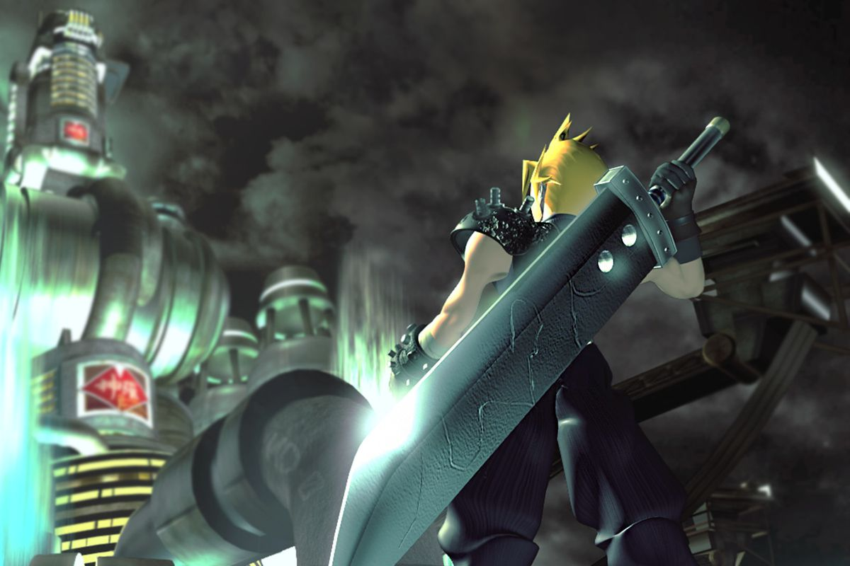 an image of cloud from behind looking up at a mako reactor in the original final fantasy of 7