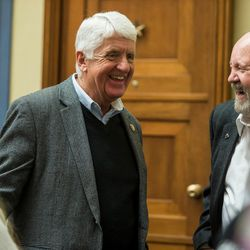 Rep. Rob Bishop, R-Utah, talks to people during a Utah delegation reception in the House Oversight and Government Reform Committee Room in the Rayburn Building in Washington, D.C., on Thursday, Jan. 19, 2017.