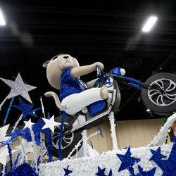 A float by Brigham Young University depicts Cosmo the Cougar during the Days of '47 Float Preview Party at the Mountain America Expo Center in Sandy on Tuesday, July 20, 2021.