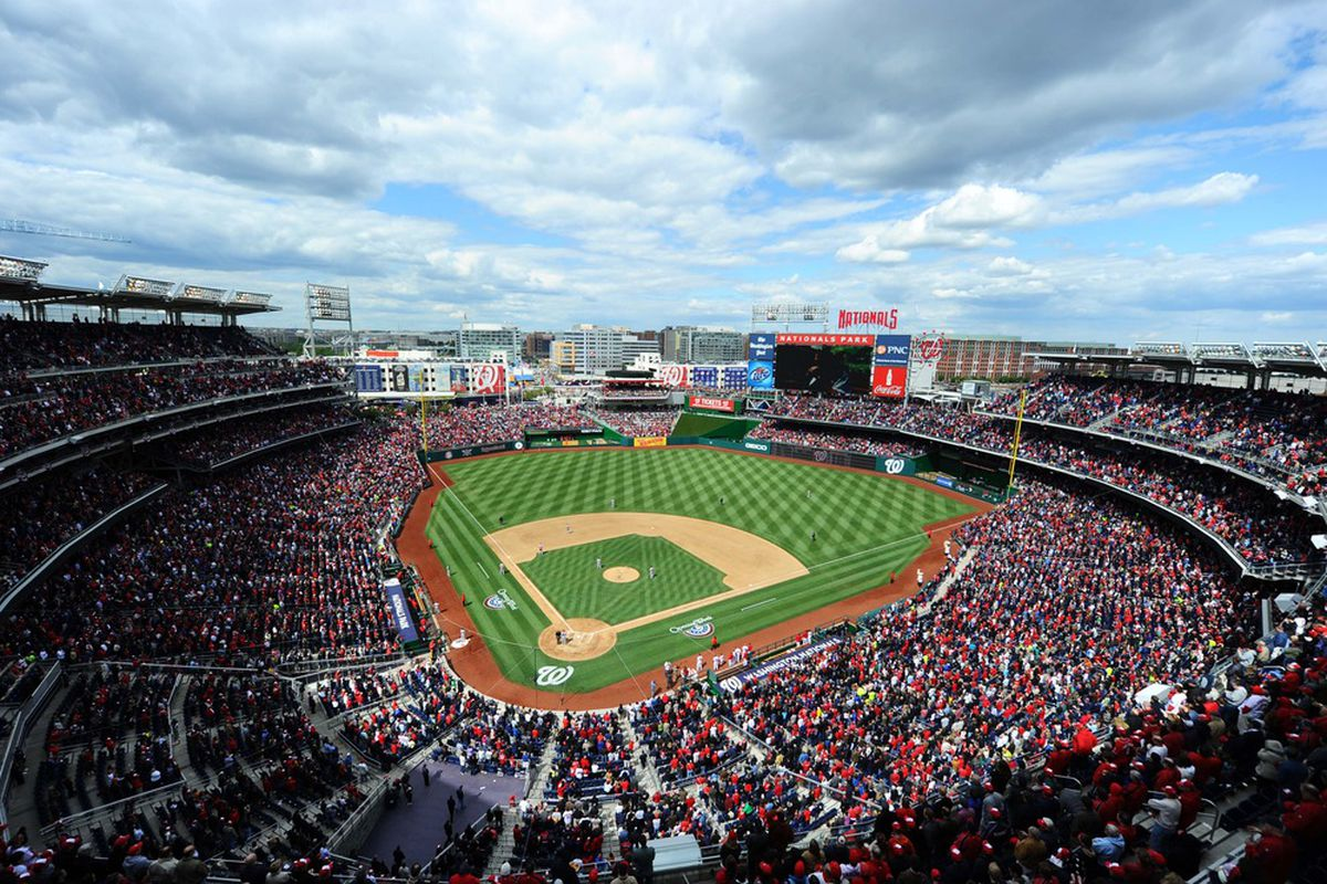 Apr 12, 2012; Washington, DC, USA; A general view of Nationals Park during the Washington Nationals home opener against the Cincinnati Reds.  Mandatory Credit: James Lang-US PRESSWIRE