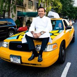 """This is how Boulud gets around town.  It messes up his hair, but he never has to pay any cab fare.  (<a href=""""http://www.luxist.com/2010/02/26/tell-us-everything-chef-daniel-boulud/"""" rel=""""nofollow"""">photo</a>)"""