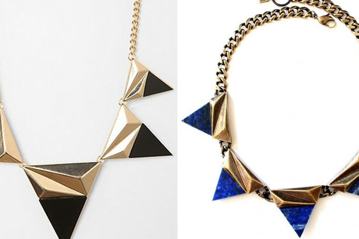The necklace in question, left, the original, right. Images via Racked LA