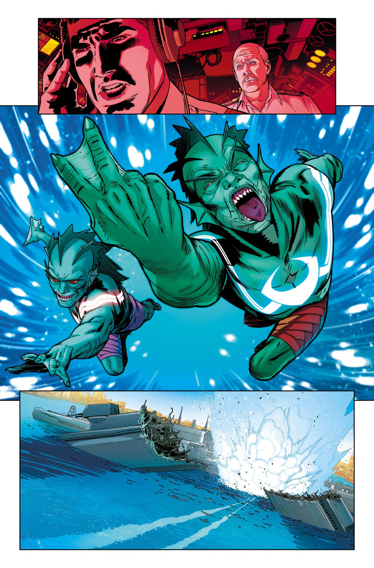 Submarine crew react as Scale and Fin swim on to the scene, flipping the underwater bird, in an unlettered page from Suicide Squad #1, DC Comics (2019).