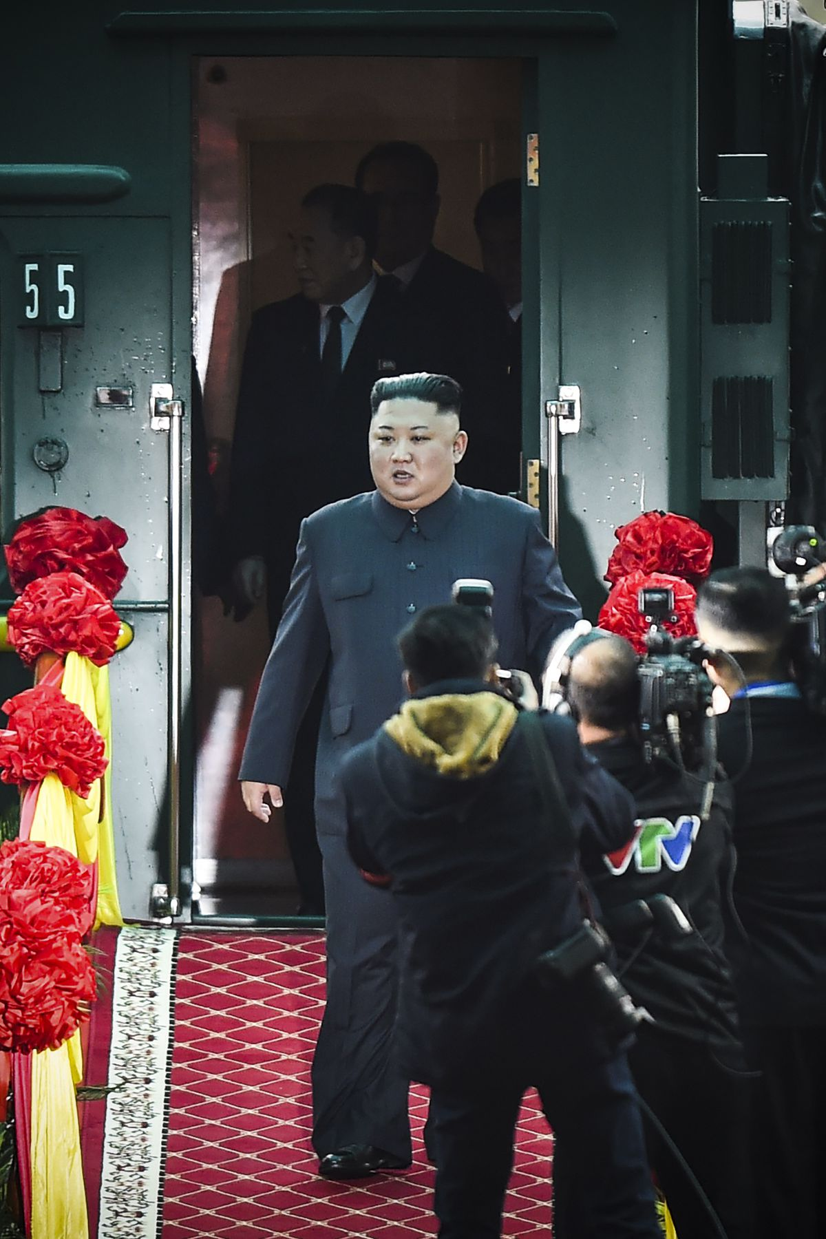 North Korea's leader Kim Jong Un arrives at the Dong Dang railway station in Dong Dang, Lang Son province, on February 26, 2019, to attend the second US-North Korea summit.
