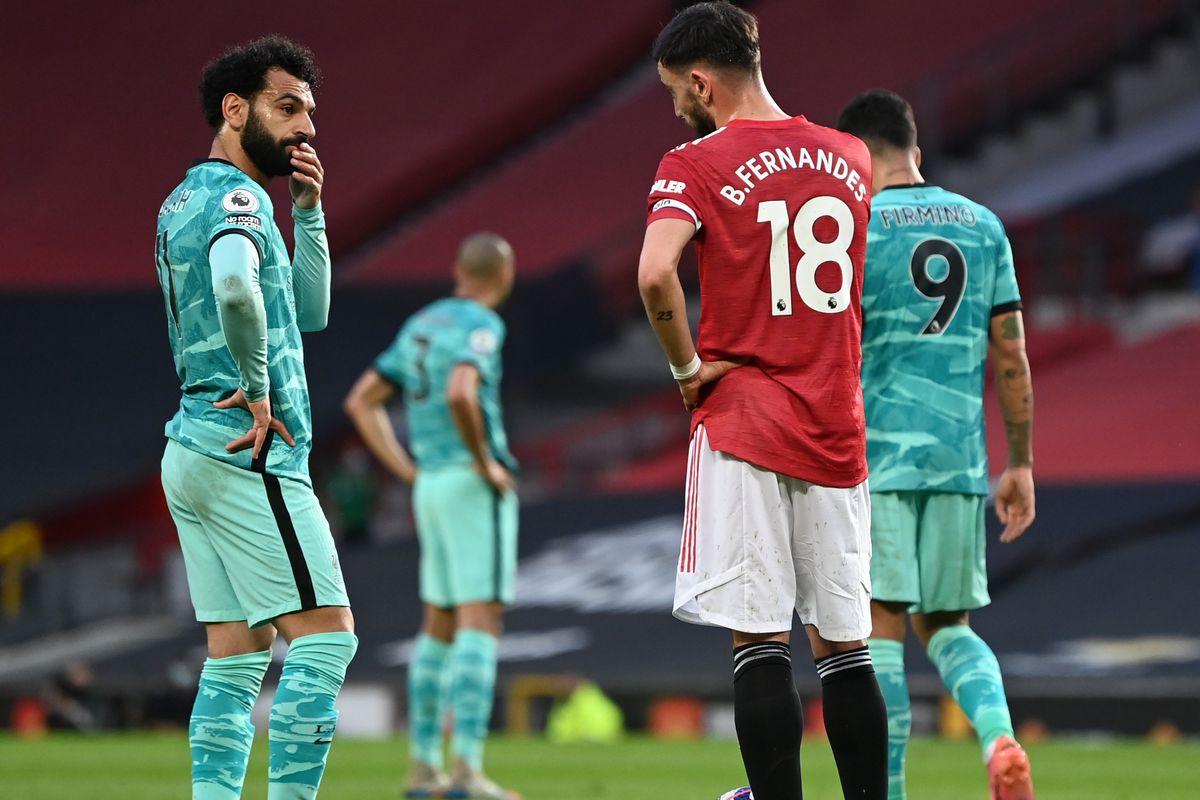 Mo Salah with Bruno Fernandes - Manchester United v Liverpool - Premier League