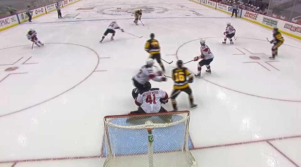 April 20: Mike Matheson unloads a shot that Miles Wood is way, way, way late in doing anything about. Meanwhile, Ryan Murray is CLEARING THE CREASE so he ends up being the screen instead of Jason Zucker. This means Scott Wedgewood doesn't see this shot.