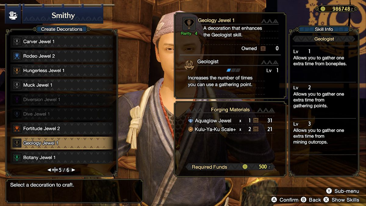 The Create Decorations menu in Monster Hunter Rise