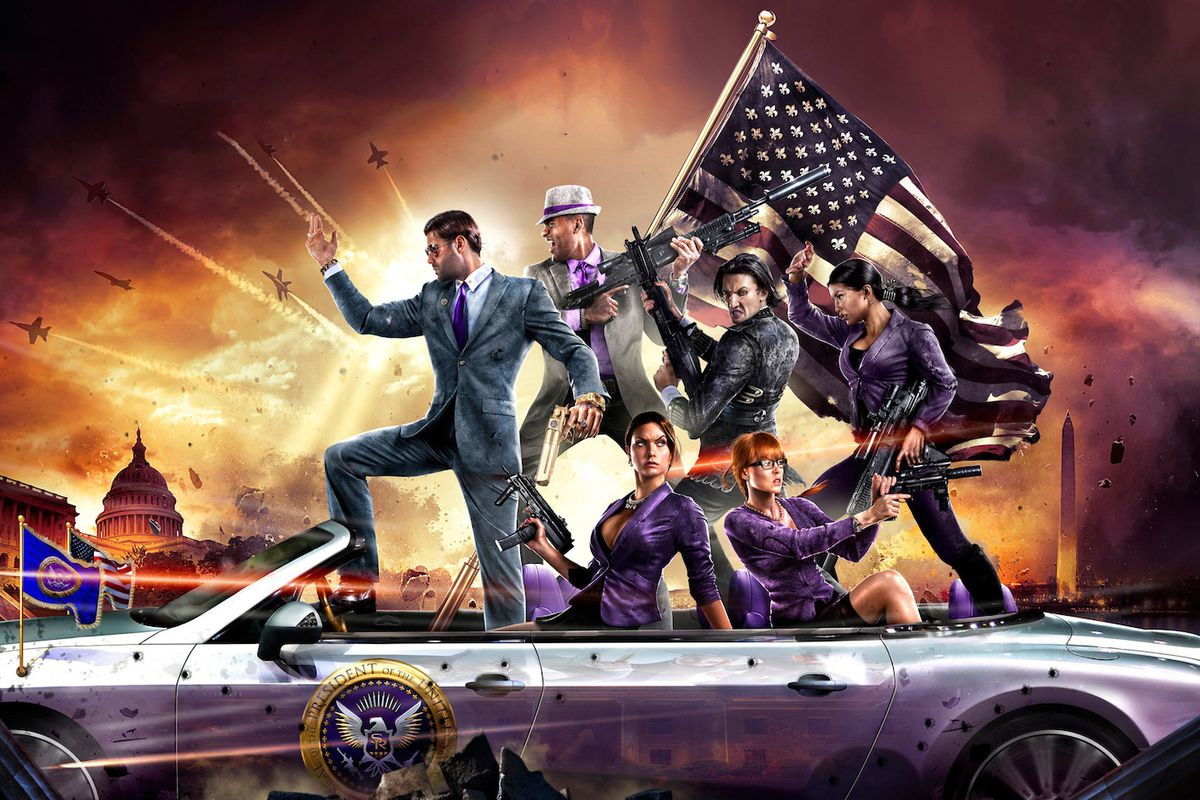 Key art for Saints Row 4 shows the Saints rowing across the Delaware in a drop-top.