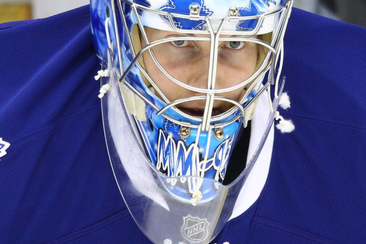 Mar 27, 2012; Toronto, ON, Canada; Toronto Maple Leafs goalie Jussi Rynnas (40) warms up before their game against the Carolina Hurricanes at the Air Canada Centre. Mandatory Credit: Tom Szczerbowski-US PRESSWIRE