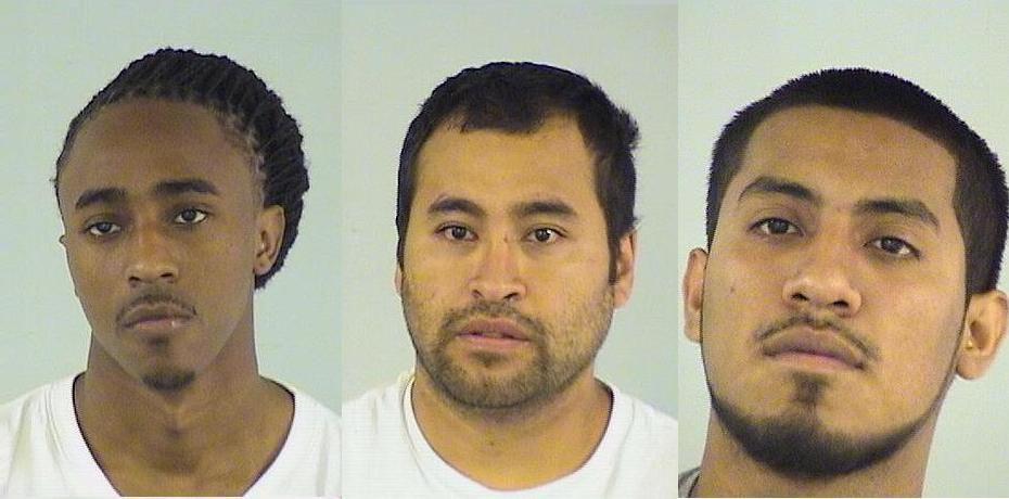 From left: Farrakhan J. Muhammed, Julio C. Najera-Rodriguez and Agustin Prado   Lake County sheriff's office