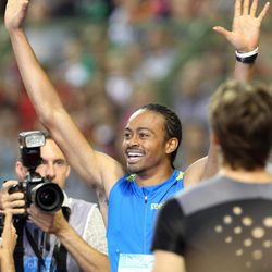 US athlete Aries Merritt celebrates winning the 110 meters hurdles and breaking a new world record at the Diamond League Memorial Van Damme athletics event at Brussels' King Baudouin Stadium, Friday, Sept. 7, 2012.