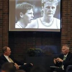 Sports broadcaster Mike Dowling asks Danny Ainge questions about balancing his career with his faith, as well as questions about the current state of the Boston Celtics, at an LDS fireside Sunday in Worcester, Massachusetts.