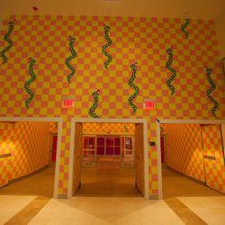 "Cleveland-born artist Jim Drain created a wacky, wallpaper-like piece named ""Rakes and Snakes."""