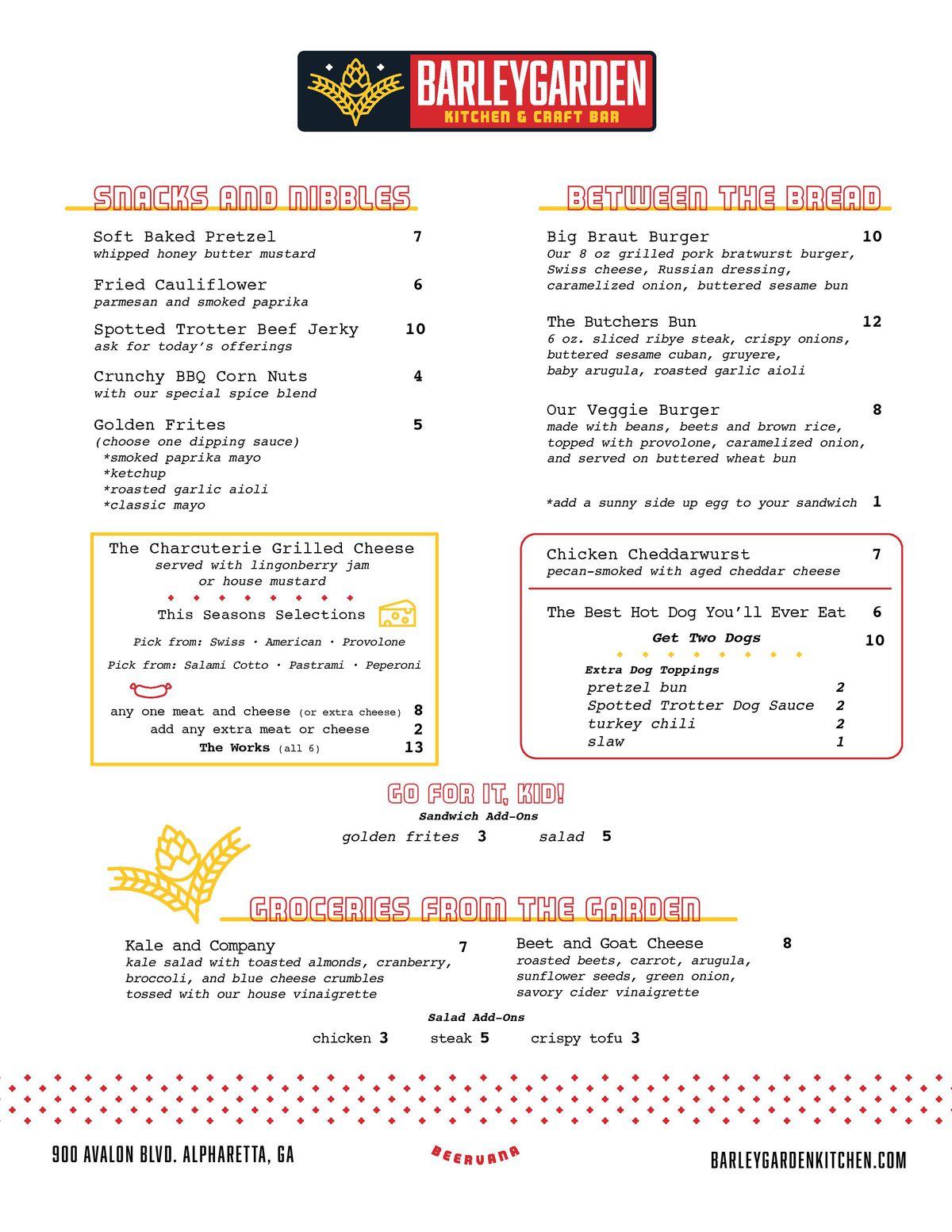 Barleygarden food menu