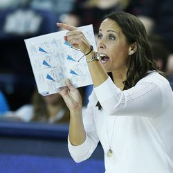 BYU coach Heather Olmstead coaches against American during the NCAA tournament in Provo on Friday, Dec. 1, 2017.
