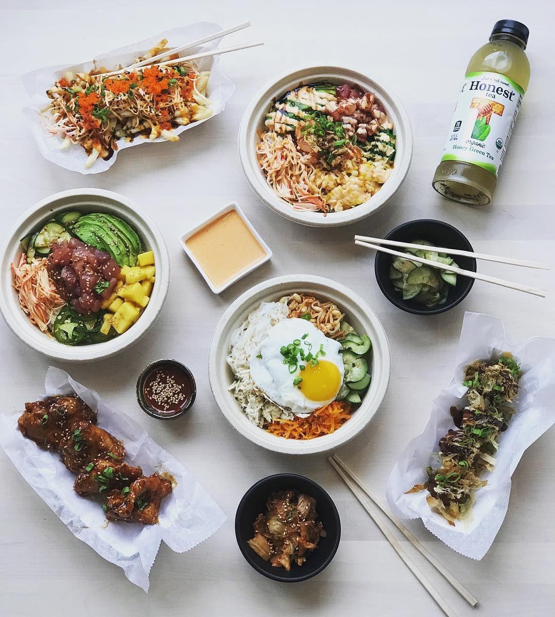 "A spread at Kimchipapi Kitchen, featuring ""KFC"""