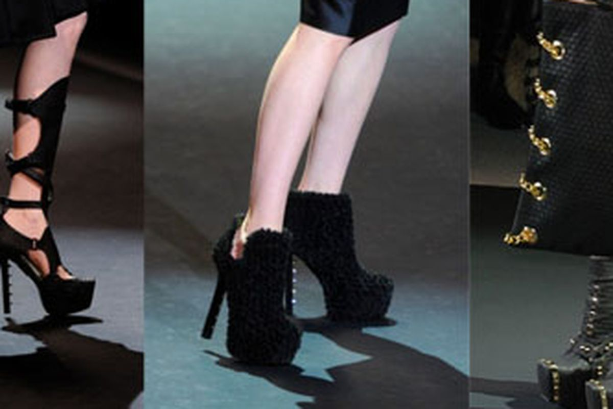 """A little Burberry, a little McQueen, and a whole lot of furry: A few of the shoes in the Christian Siriano runway shoe. Image via <a href=""""http://racked.com/archives/2011/02/11/and-now-just-sirianos-payless-shoes.php"""">Racked</a>."""
