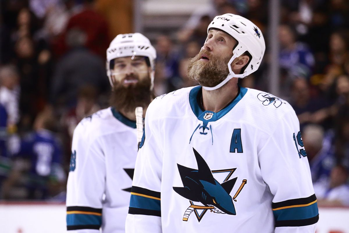 VANCOUVER, BC - APRIL 2: Joe Thornton #19 of the San Jose Sharks looks on dejected after their NHL game against the Vancouver Canucks at Rogers Arena April 2, 2019 in Vancouver, British Columbia, Canada. Vancouver won 4-2.
