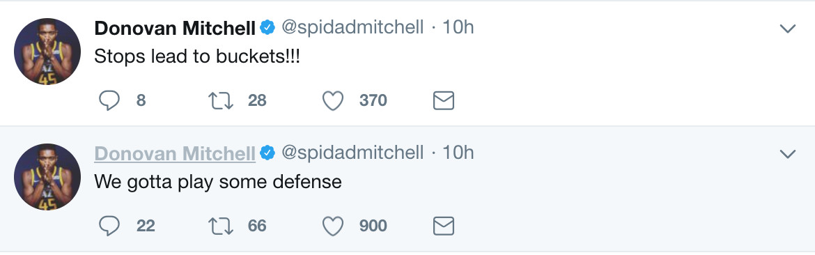 """Donovan Mitchell's tweets reading, """"Stops lead to buckets!!!"""" and """"We gotta play some defense"""""""