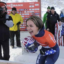 The United States' Noelle Pikus-Pace reacts after winning the women's skeleton World Cup event Friday, Dec. 6, 2013, in Park City.
