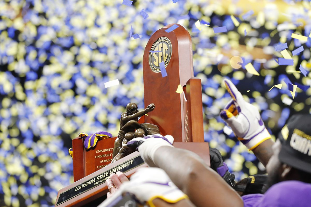 A detail as the LSU Tigers celebrate with the trophy after defeating the Georgia Bulldogs 37-10 to win the SEC Championship game at Mercedes-Benz Stadium on December 07, 2019 in Atlanta, Georgia.