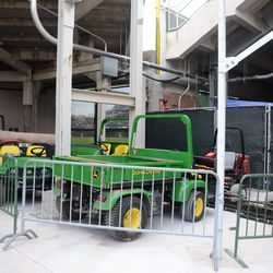 5:50 p.m. Another look at the grounds crew storage area in the right-field corner -